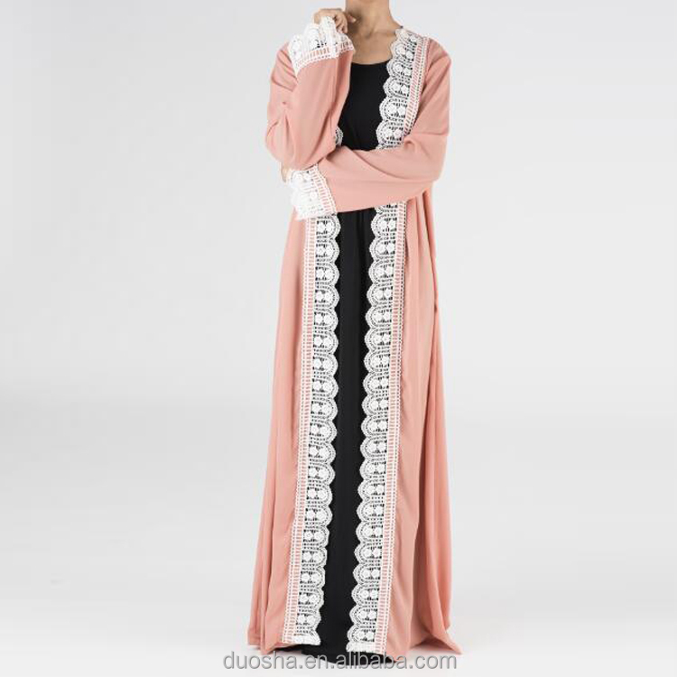 Wholesale Fashion Turkish Style Front Open Abaya Long Sleeves Cardigan Muslim Lace Coat Dubai Kimono Abaya Dress For Women