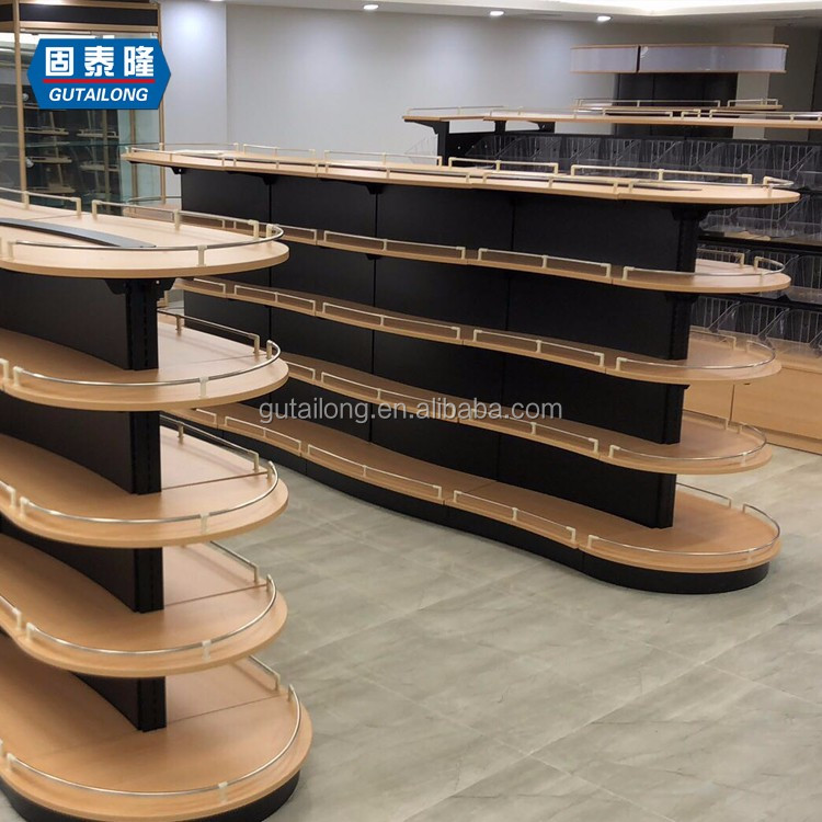 93f5fcb5f42f Heavy Duty wooden Gondola Shelf Customized Metal Supermarket Shelves Display  Shelving Racking Plant Stand