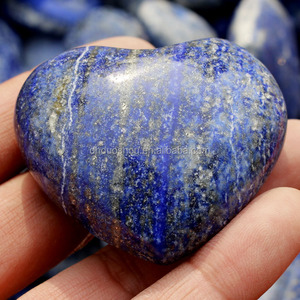 highly polished natural lapis lazuli crystal heart shaped rocks , gemstone worry stone heart , quartz crystal puffy heart
