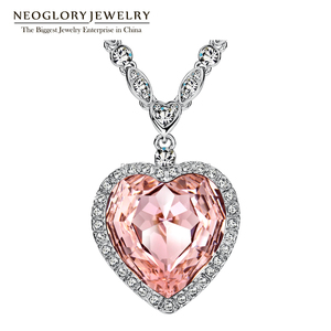 Neoglory Rhodium Red Heart Pendant Necklace For Women Crystal Jewelry Made With Swarovski Elements