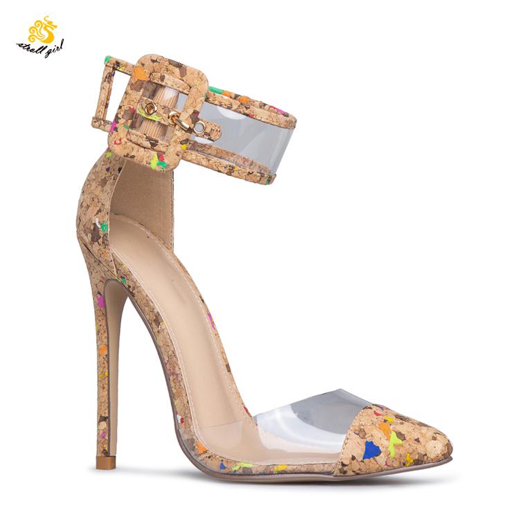 L190344 工場直接女性はサイド中空ハイヒール先のとがったつま先カスタマイズされたファッション靴