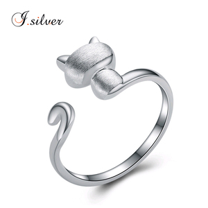 cute cat 925 sterling silver ring R20137 open rings