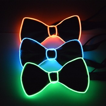 2018 hot selling heap el wire bow tie ,flashing sound actived bow ties,led tie