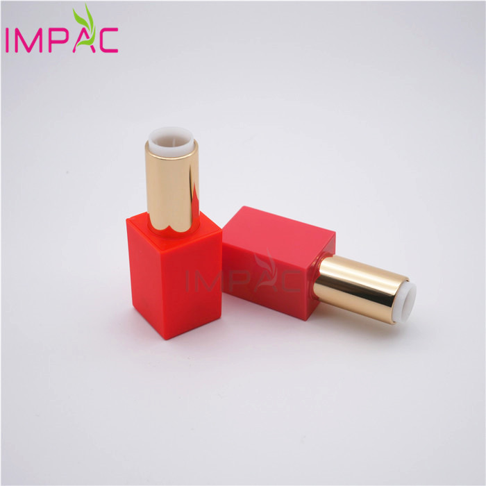 Twist up red plastic magnetic lipstick case with magnetic cap