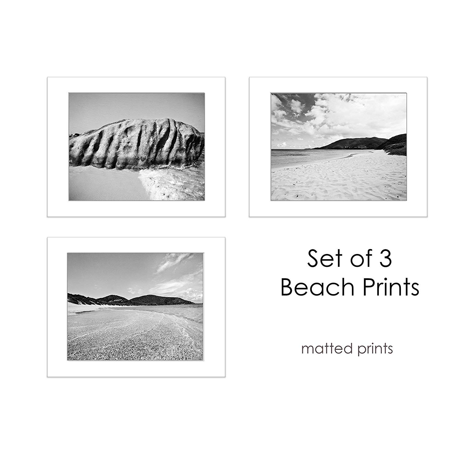 Get quotations · coastal beach photography set of 3 black white 5x7 inch matted prints