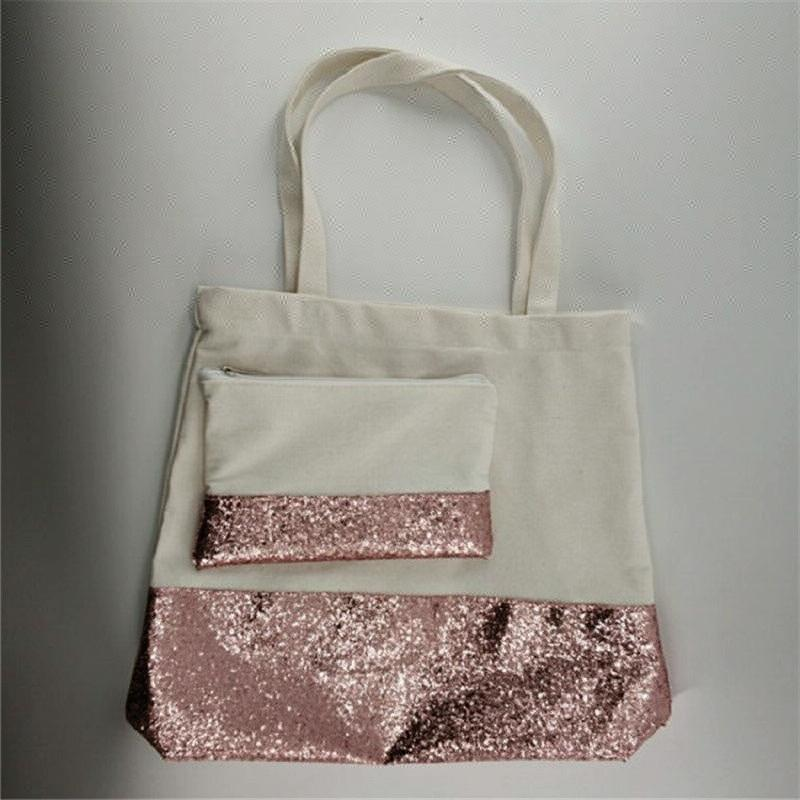 Commercio all'ingrosso Amazon Vendita Calda Tela Scintillio Tote Bag 2 PZ Set In Oro Rosa Paillettes Borsa Spiaggia
