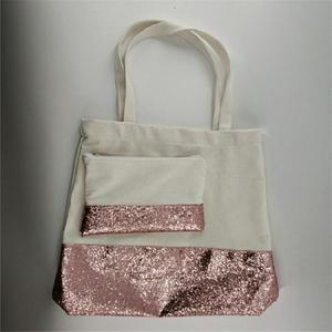 Wholesale Amazon Hot Sale Canvas Glitter Tote Bag 2PCS Sets Rose Gold Sequined Beach Handbag