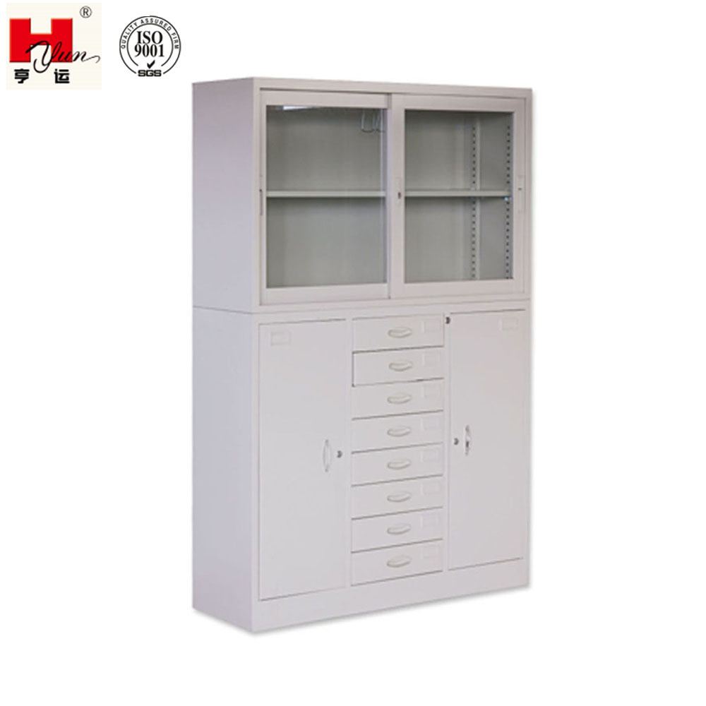 Custom Made Industrial Office Filling 8 drawers 4 doors Glass Cabinet