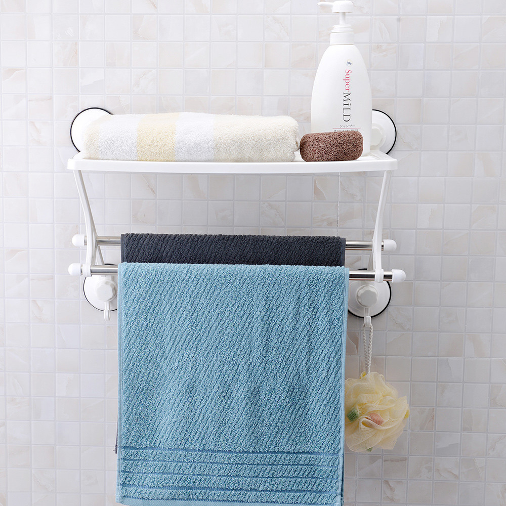 One Layer Suction Cup Bathroom/kitchen Plastic Storage Rack With ...