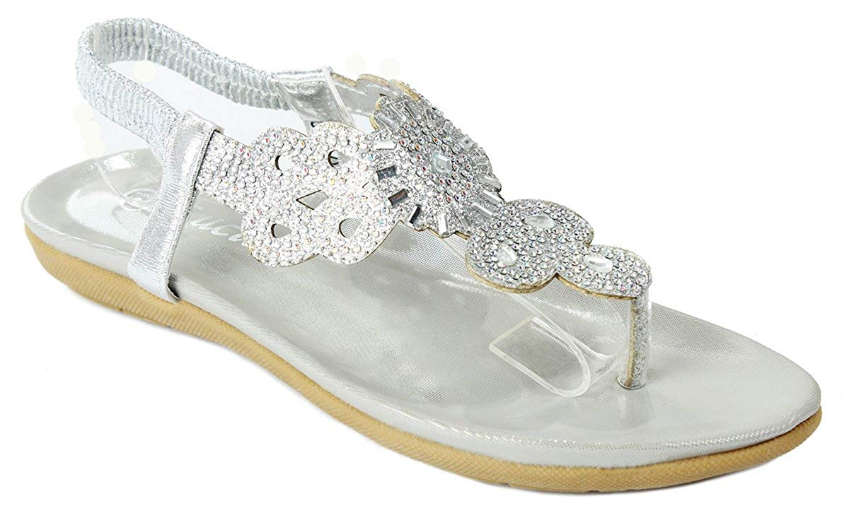87b1a242542 Get Quotations · Women 3-34J Silver Glitter Sparkle Rhinestone Cut Out  T-Strap Cushioned Slingback Thong