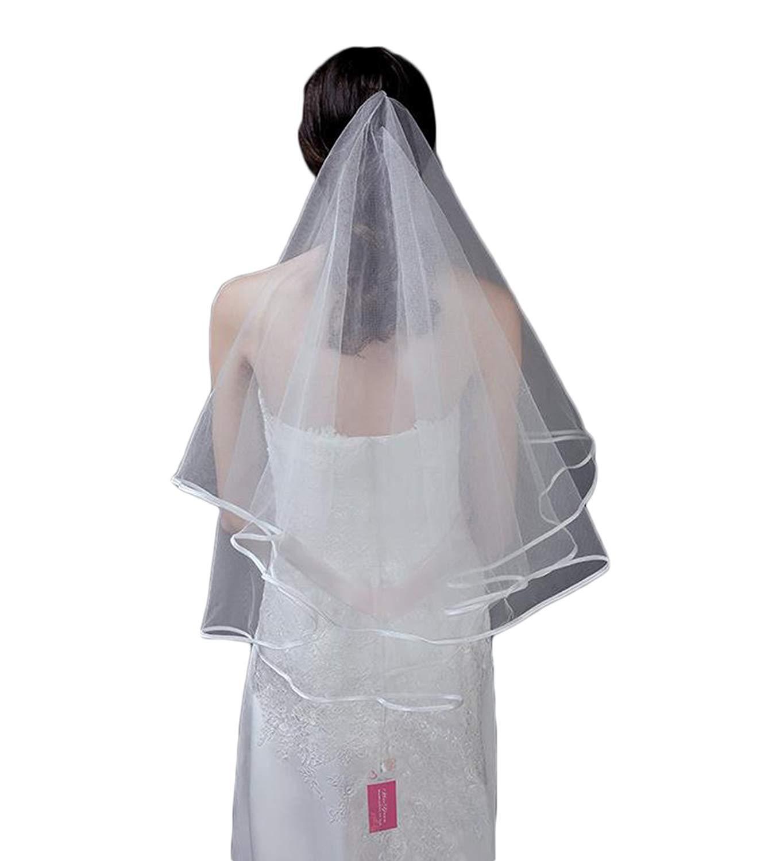 Fenghuavip Short Bridal Veils 2T Tulle Wedding Veils for Bride Free Comb