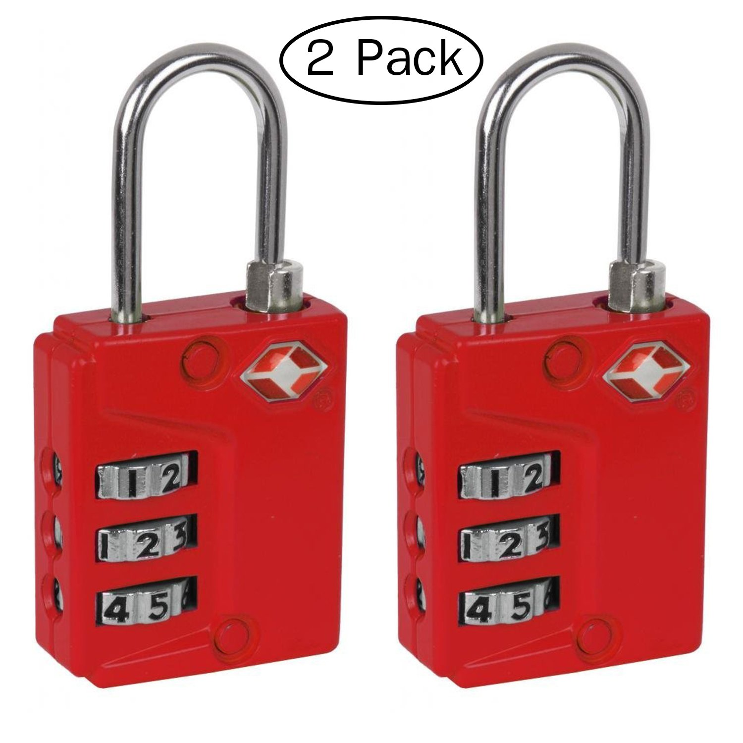 Ivation Luggage lock, Three Dial TSA Approved Combination, great for Personal Bags, Luggage's, Totes, Suitcases, Duffle bags, Gym Lockers, with Instant Alert Red Tab Indicator If opened By TSA, 2 Pack