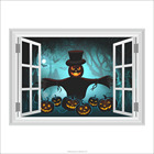 50*70cm Peel And Stick Wall Decals Pumpkin Scarecrow False Window wall sticker 3d for Halloween Decoration