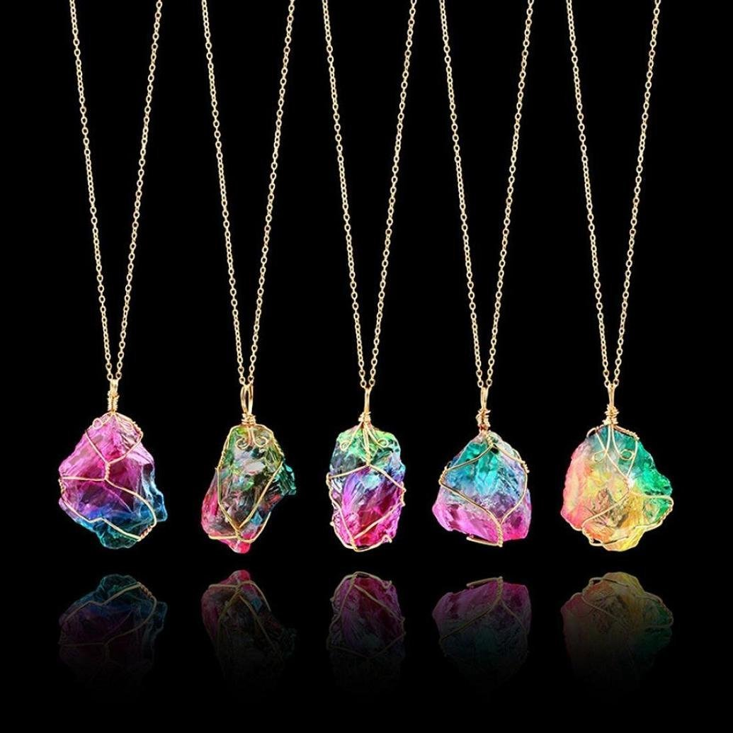 Seven color natural stone winding crystal pendant transparent multicolored Chain Necklace Chain, Picture