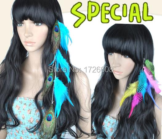 Мода длинные голубые перья клип в пера павлина наращивание для женщин / девочек аксессуары
