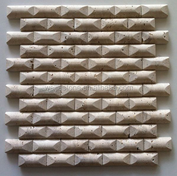 Tumbled Noce Stone Effect Travertine Wall Tile Pack Of 15: Noce Travertine Three-dimensional Effect Wall Mosaic