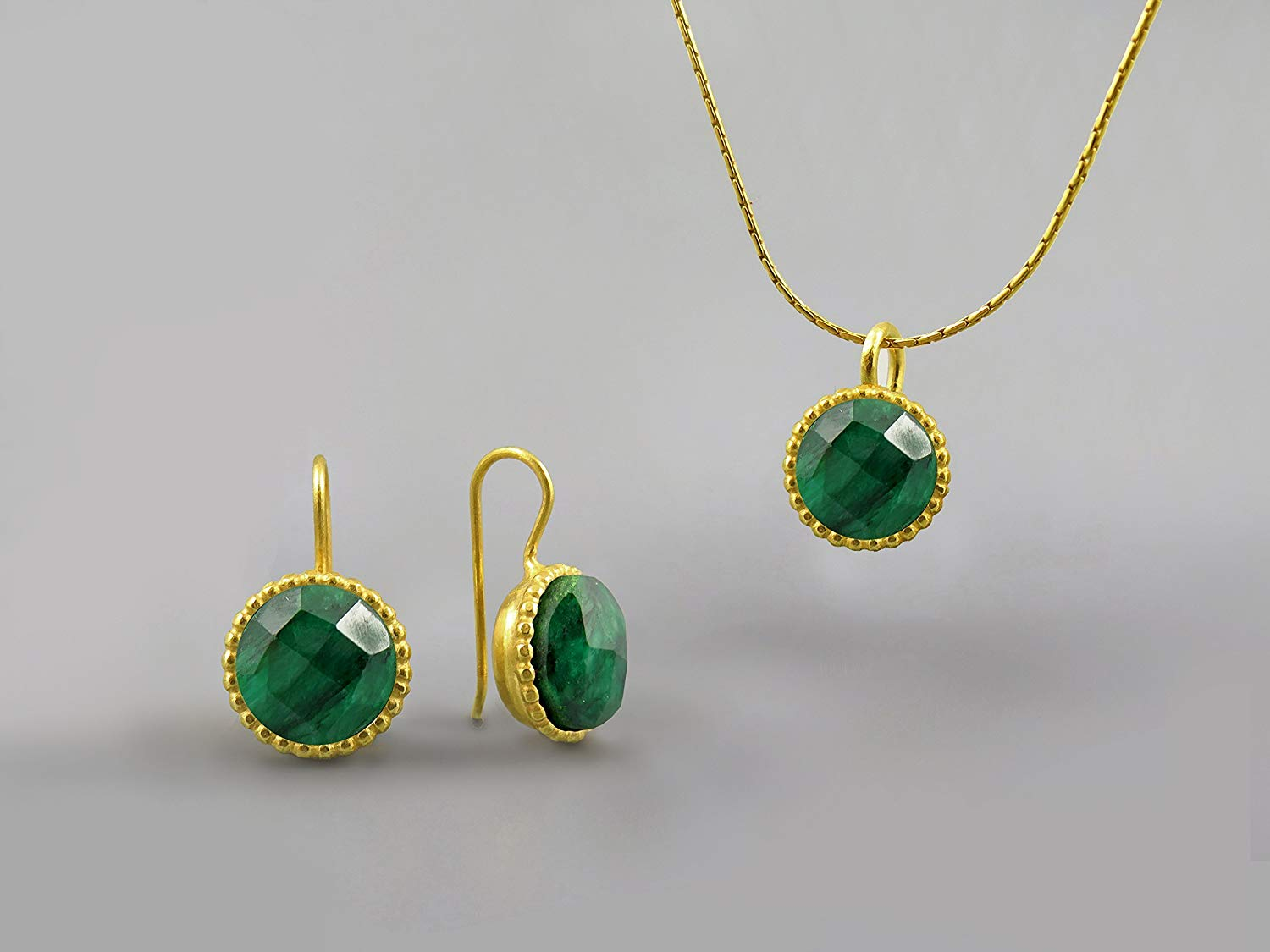 Emerald Green Gemstone Handmade Jewelry Set For Women 18 Kt Gold Plated May Birthstone Emerald Necklace Emerald Pendant Emerald Earrings Emerald Jewelry Gift for Women Large Round Stone Custom Jewelry