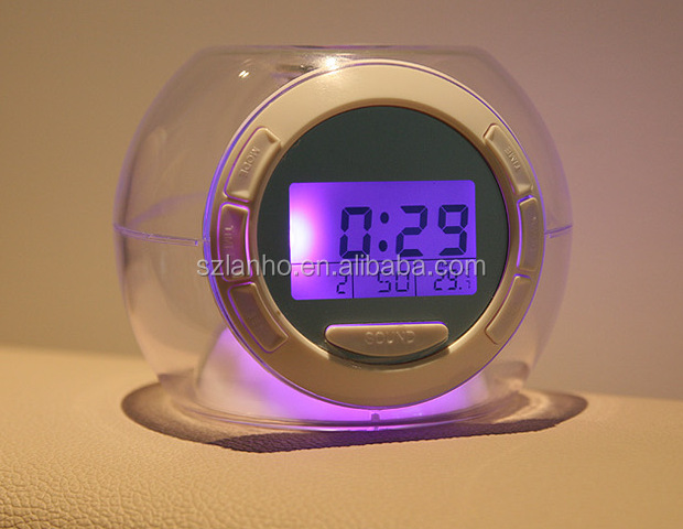 Electronic Digital Transparent Multifunctional Calendar Alarm Clock with 7 Color Changing Light 6 Natural Sounds