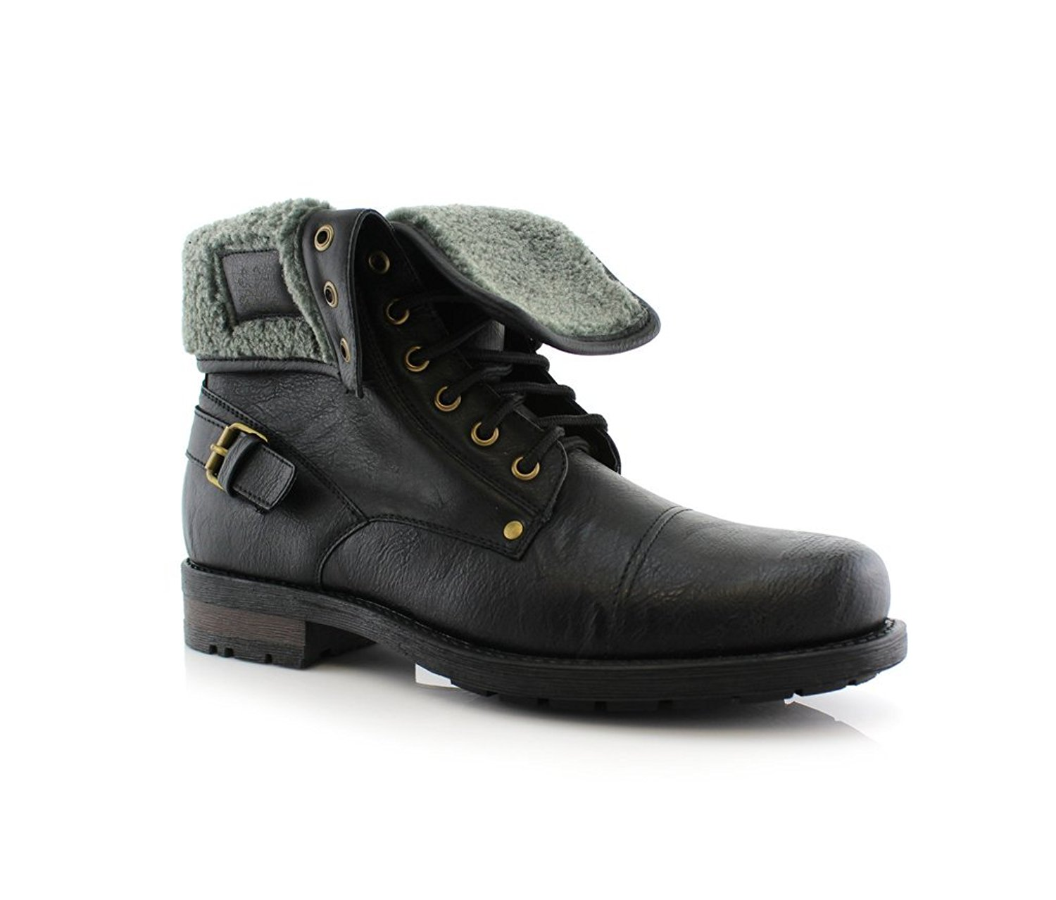 5ffc62fdb3ab Get Quotations · Polar Fox Men s 506015 Military Fold Down Wool Lined  Combat Style Desert Ankle Boots