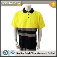 Polyester reflective safety chest pocket ENISO20471 birdeye high visibility polo shirt