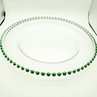 Wedding decoration 32cm green beads clear charger plate glass