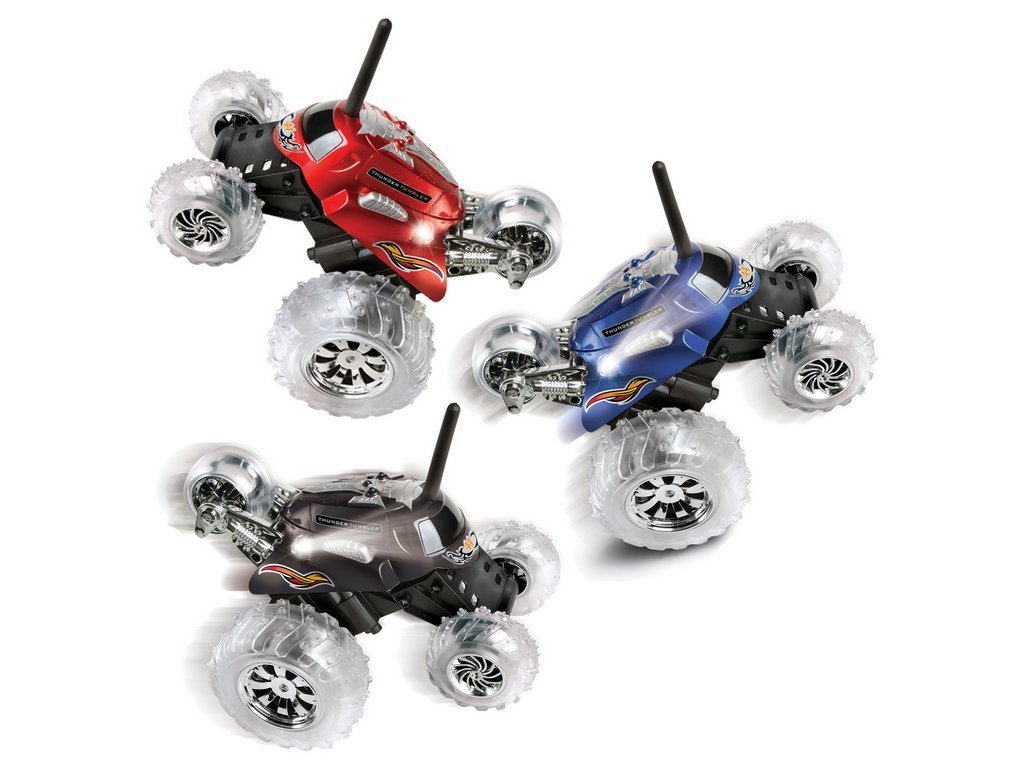 Rc Cars-Monster Trucks-Blue Hat RC Thunder Tumbler Plastic Rally Car with Flashing LED Lights- Cars Toys--Performs 360 degree single- tire wheelies Spinning stunt vehicle with flashing LED lights Full- function wireless radio control with special action button -Ready to cruise roads-Guarenteed