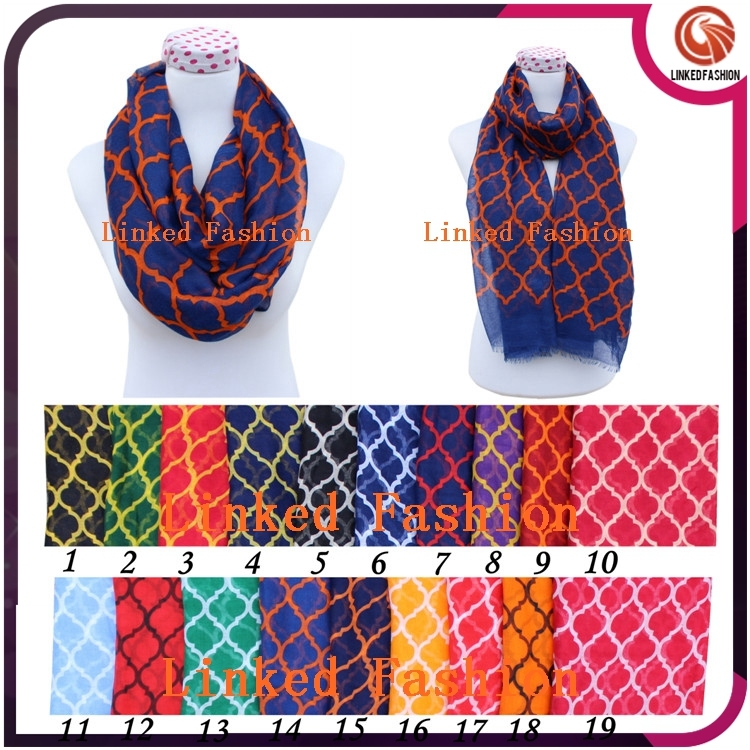 quatrefoil infinity scarf,hot USA chevron quatrefoil infinity scarf with 19 colors-navy blue and <strong>orange</strong>