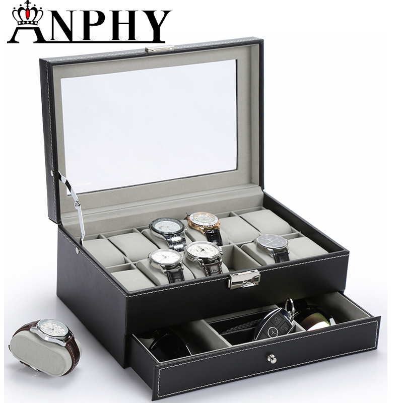ANPHY C181 Luxury 12 Slots Two Layers Leather Large Watch Box Watch Holder Box With Pillow Wrist Watch Case