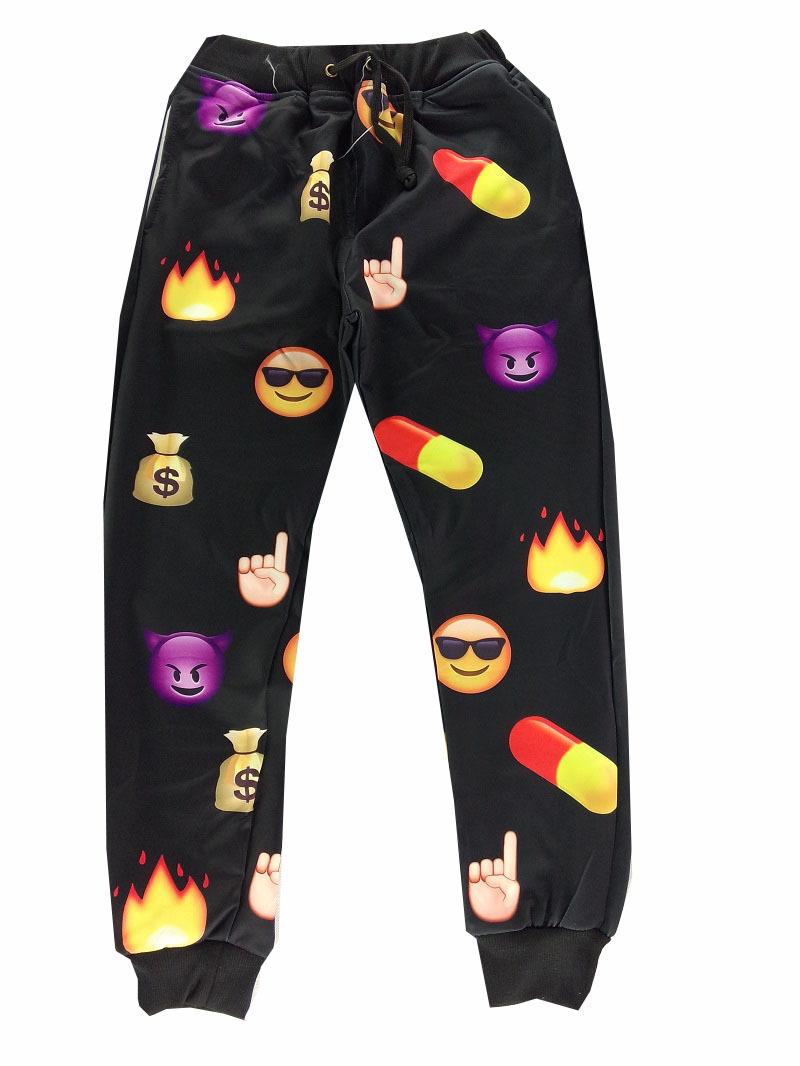 66330b86ab1932 Get Quotations · 2015 New Womens Fashion Emoji Jogger Pants Sport 100 Black  Jogging Cartoon Track Pants Harem Sweatpants