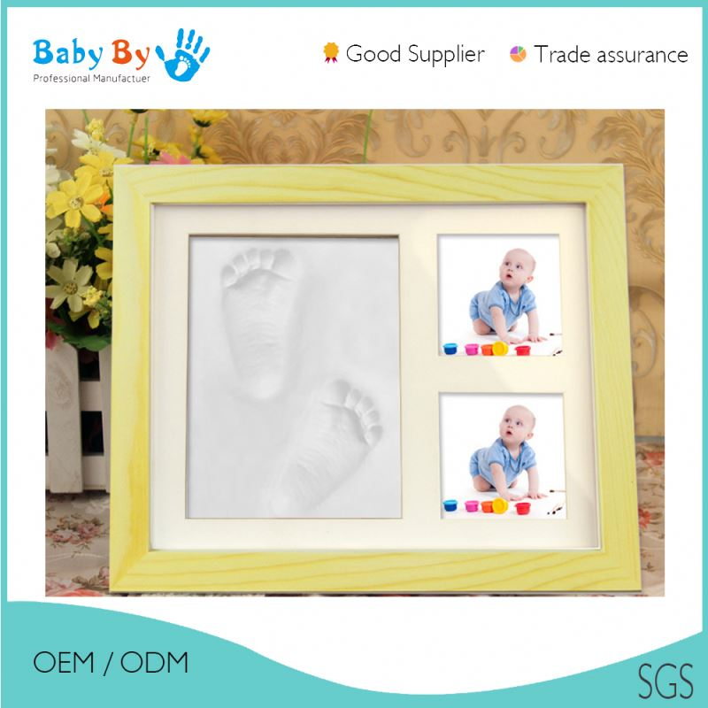 Baby photo frame with child's handprint and footprint / photo frame baby boy girl