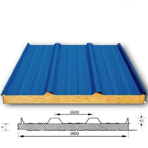 Prefabricated house fire resistant 950 960 980 rock wool sandwich roof board