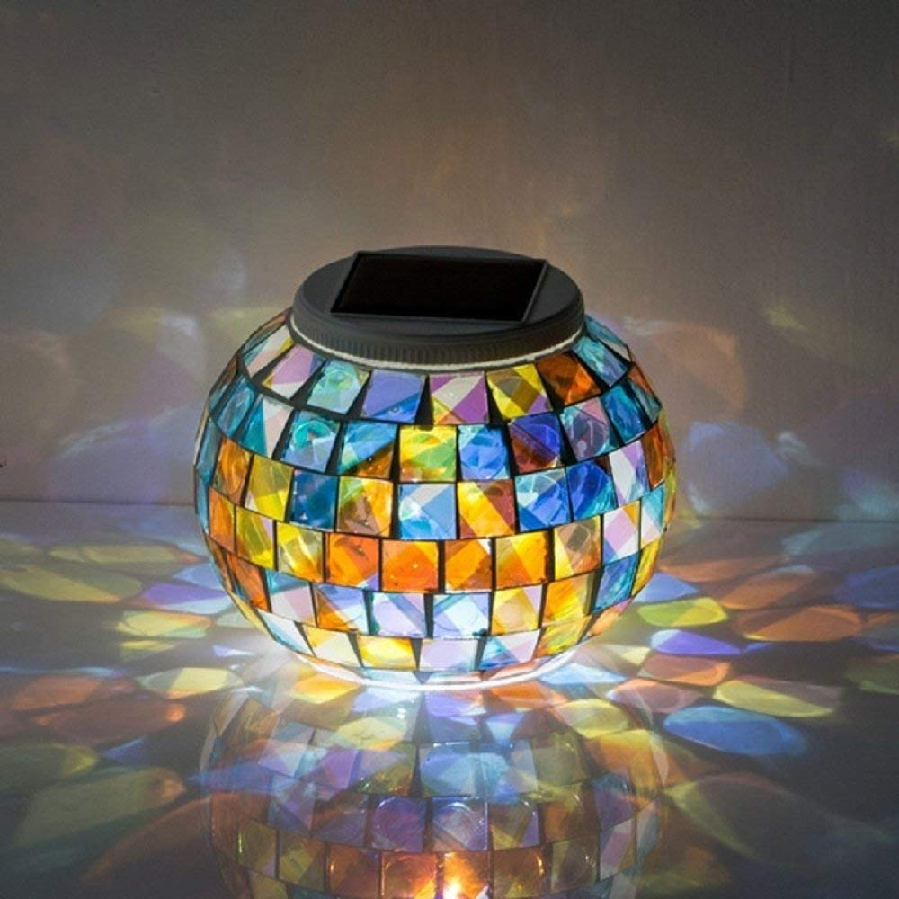 Svitlife Garden Solar Power Mosaic Glass Ball Colorful LED Light Outdoor Waterproof Decoration Lamp