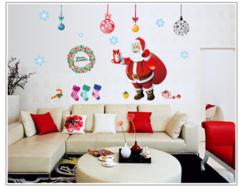Display Window Christmas Decoration 3D Felt Wall Sticker