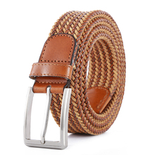 Fashion Factory Custom Colors Mens Braided Genuine Leather Belt