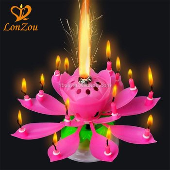 Birthday Candles Flaming Flower Rotating Musical Happy Lotus Candle