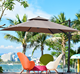 Latest design beer garden Aluminium light Square umbrella/ hawaii beach outdoor parasol waterproof patio cafe umbrella for sale