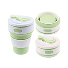 New design custom portable eco friendly reusable silicone rubber drinking folding coffee cup