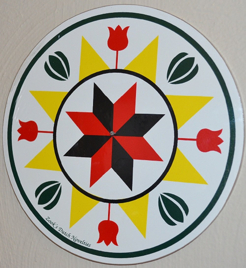 7 1/2 Inch Diameter Pennsylvania Dutch Hex Signs Are Meant to Bring Luck to the Owner. Specific Designs Bring Specific Luck. This Particular Sign Design Is One of the More Commonly Used Signs on Barns. It Has a Large 8 Pointed Yellow Star with a Smaller Star Forming the Center. Tulips and Sheaves