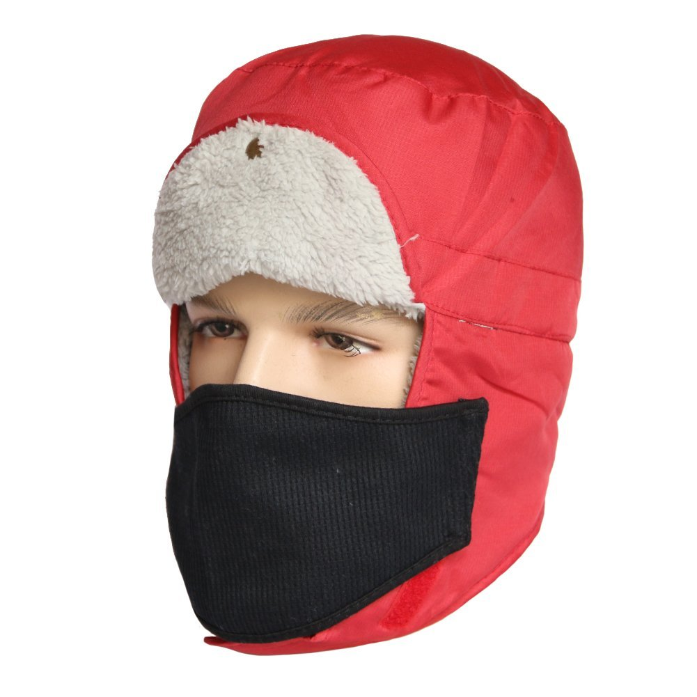 51367794126ca Get Quotations · Trapper Hat-Winter Trooper Hat Hunting Hat Ushanka Ear  Flap Chin Strap and Windproof Mask