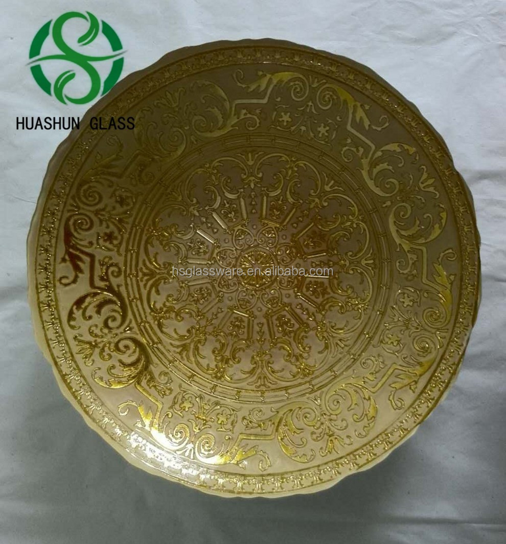 Cheap China Antique Round Gold Plate Chargers Glass Dinner Plate Wholesale