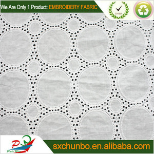 white color cotton embroidery fabric with hole design for garment
