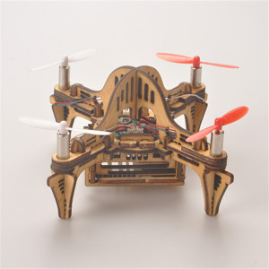 Tenon Mortise Wooden Drone Creative Toys Wooden Model DIY Kits Handmade Assemble RC Drone