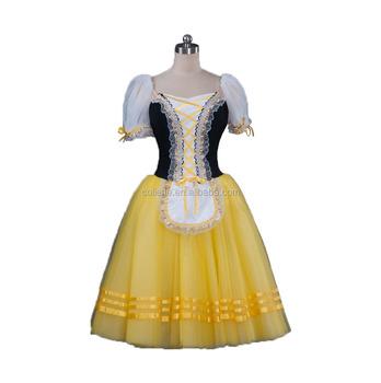 695fb0eb1 BLY1073D Adult lycra black yellow Giselle Coppelia Ballet tutu long dress