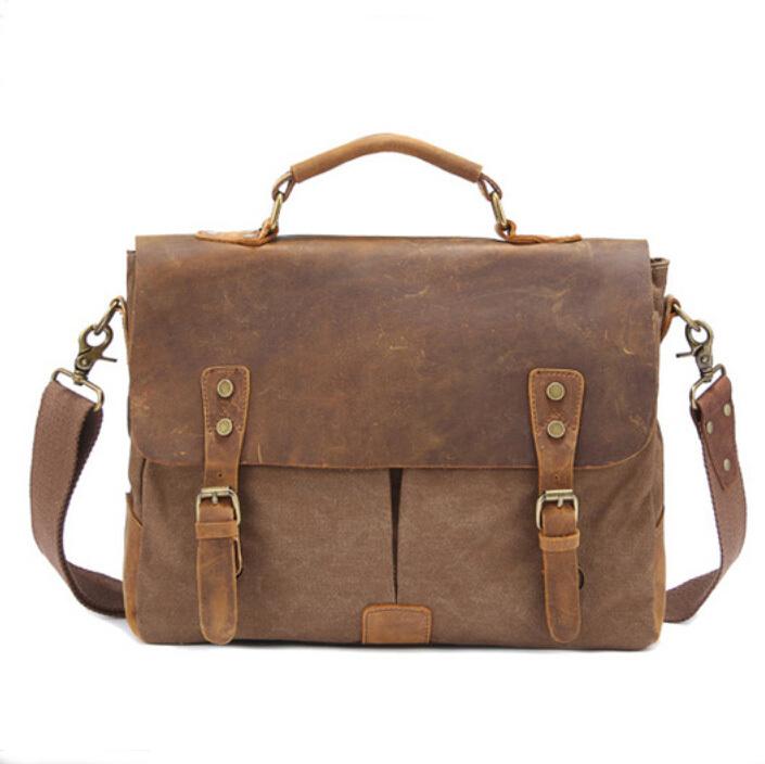 c8f131c056 Get Quotations · Men Vintage Crazy Horse Leather Messenger Bag+Fashion Canvas  Men Handbag One Shoulder Punk Canvas