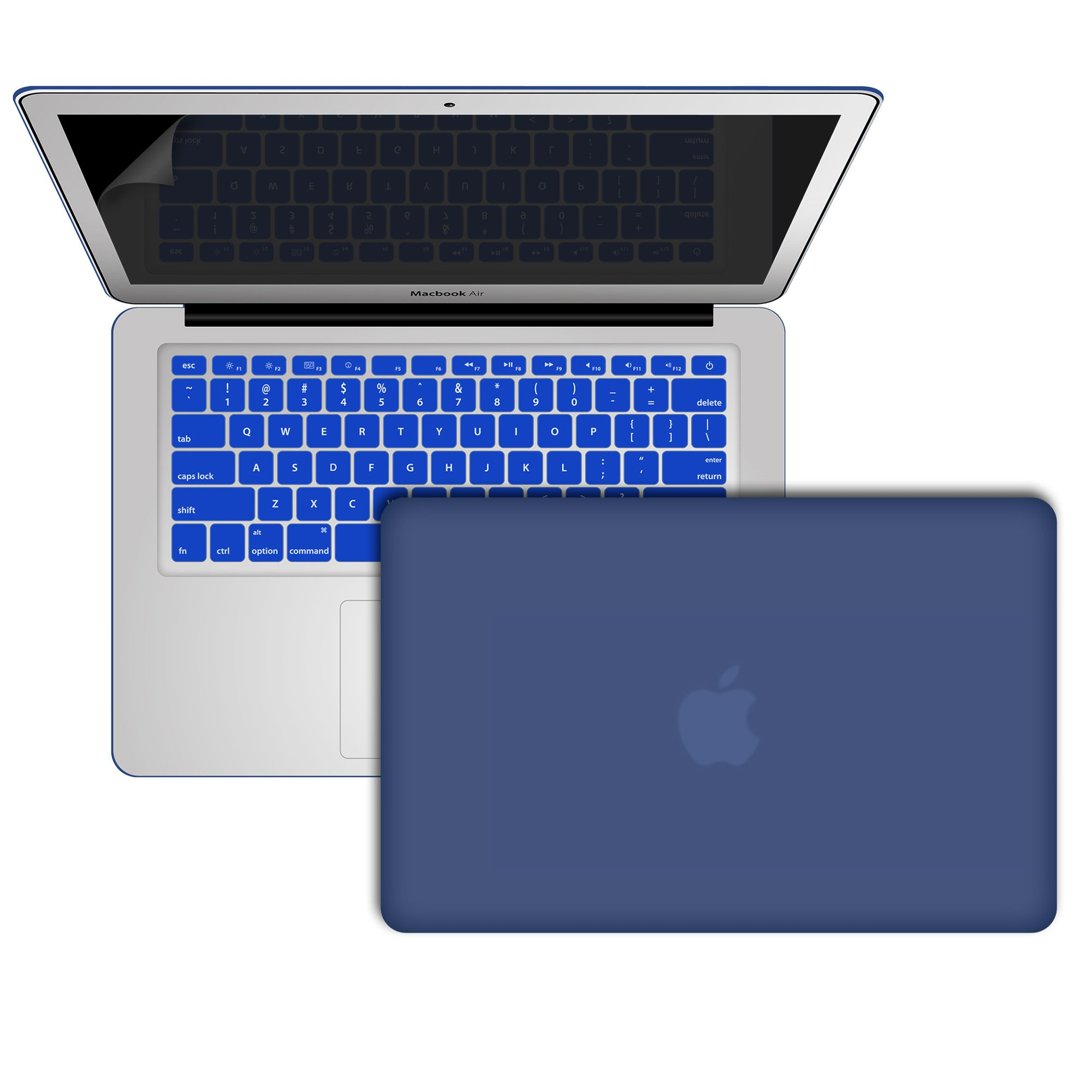 MacBook-Air-13-Cover, RiverPanda Lightweight Ultra Slim Rubberized Hard Case Cover With Keyboard Skin & Screen Protector for MacBook Air 13-Inch (A1369/A1466) - Blue Moon