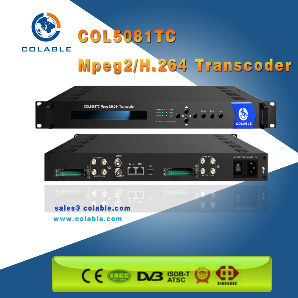 Dvb h.264 to mpeg2 ts transcoder any to any COL5081T