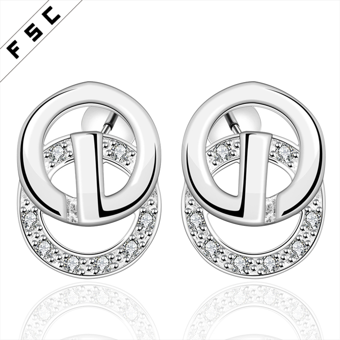 Wholesale funky earrings jewelry newest design euro collection with zircon novelty circular copper stud earrings