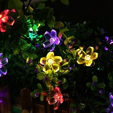 Holiday Lighting Solar Powered 7M 50 Leds Outdoor Cherry Blossoms String Lights
