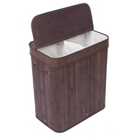Best selling square natural color bamboo laundry basket 2 compartments with lid