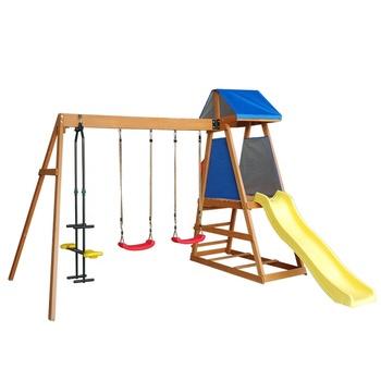 Luxury Kids Log Swing Set Playhouse With Slide Wooden Buy Swing Setswing Playhouseplayhouse With Swing Product On Alibabacom